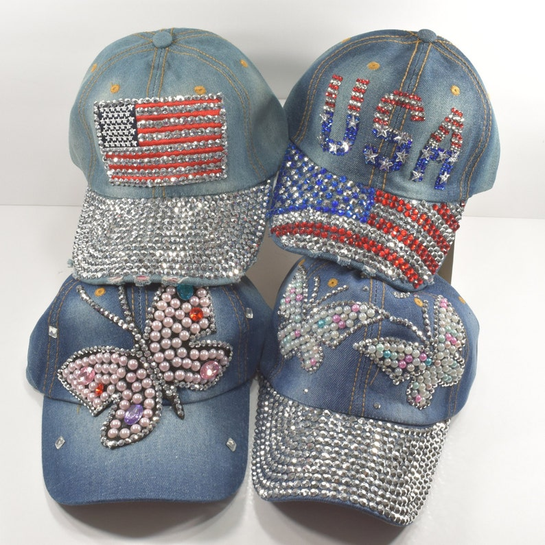 8cc6eeb5cac99 Rhinestone / Sequins / Faux Pearl Hat Available in USA or Butterfly or US  FLAG Blue Denim Hat, cap / hat for women