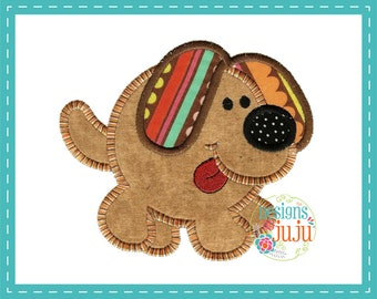 Sweet And Simple Chubby Dog Applique - Machine Embroidery - 2  Sizes - Instant Download - Round Up The Critters - Design Pattern