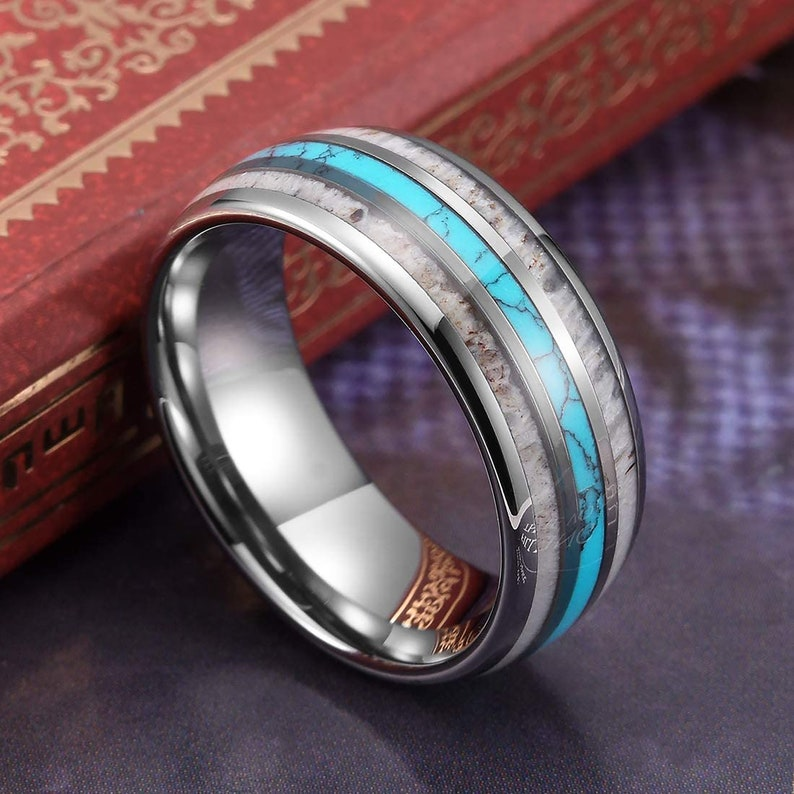 8mm Silver Tungsten Rings with Real Antler Turquoise Inlay Domed Hunting Wedding Bands #1042