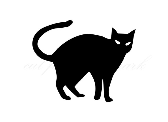 Black Cat Halloween Shadow Cut Files SVG & Studio 3 File ...