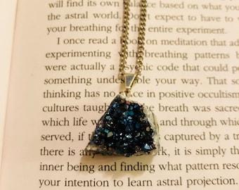 Titanium Cobalt Quartz Crystal Pendant