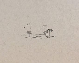 Original Mini Beach Landscape Ink Drawing