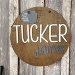 """20"""" Rustic New Baby Boy Door Hanger - Hospital Door Hanger - Baby Announcement Sign - Baby Shower Gift - farmhouse Nursery"""