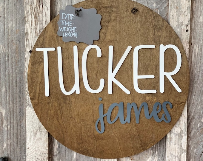 Featured listing image: Rustic New Baby Boy Door Hanger - Hospital Door Hanger - Baby Announcement Sign - Baby Shower Gift - farmhouse Nursery