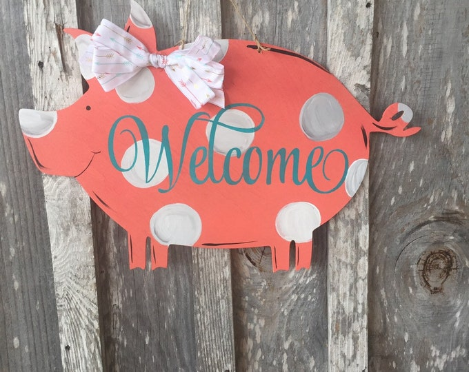 "Featured listing image: 22"" Pig door hanger Welcome polka dots  - wood sign  - decorate your door  - Painted home decor"
