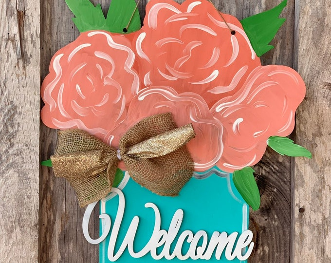 "Featured listing image: Floral jar welcome door hanger  - 22"" - spring door decor - mason jar - flowers- Wood sign"