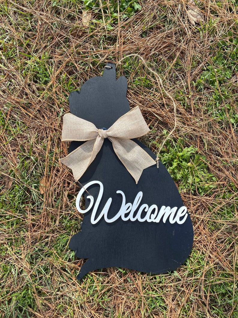 Cat door hanger  welcome  22  black cat door decor  image 0
