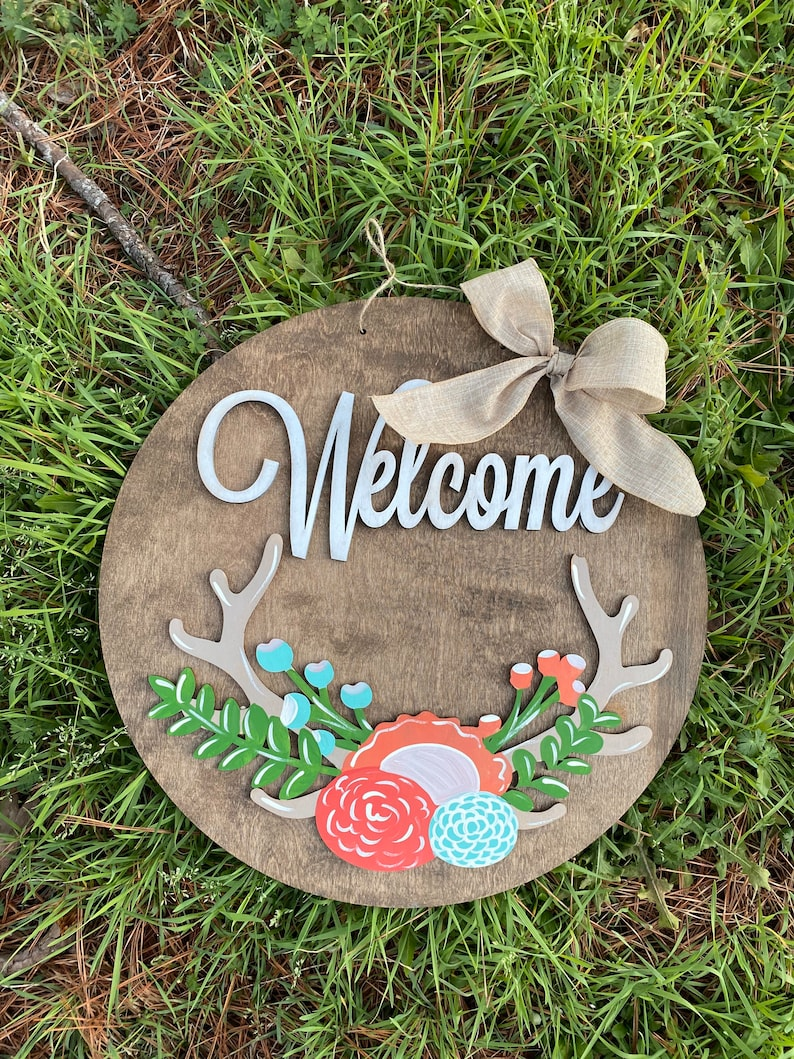 20 floral antler welcome door hanger  layered door hanger  image 0