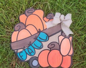 Pumpkins wheel barrow door hanger | fall banner door hanger | autumn door hanger -| laser cut