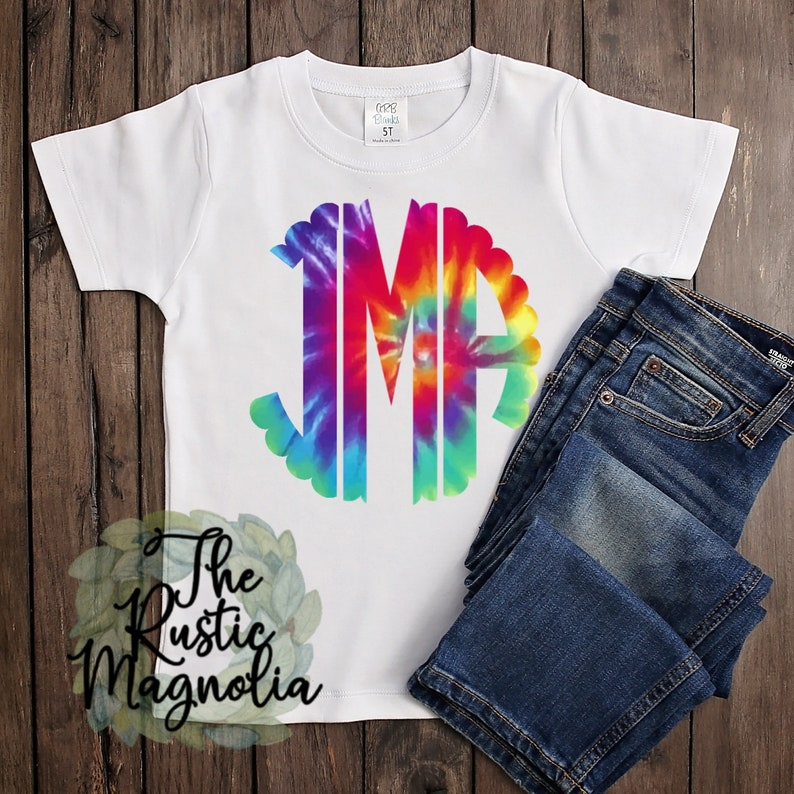 Youth shirt  Scalloped monogram tie dye graphic tee  image 0