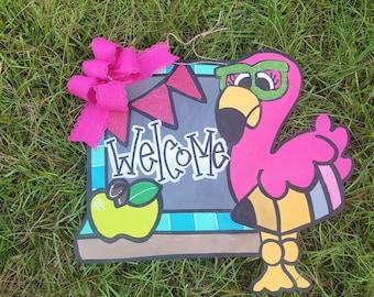 Flamingo Teacher Chalkboard door hanger - classroom school wood sign - painted door hanger