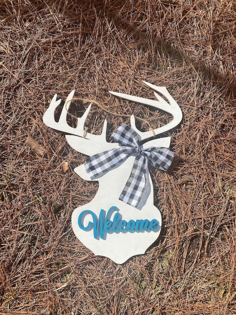 Welcome buck white Door hanger  22  deer door hanger  image 0