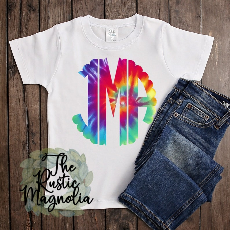 Adult t-shirt  Scalloped Monogram tie dye graphic tee  image 0
