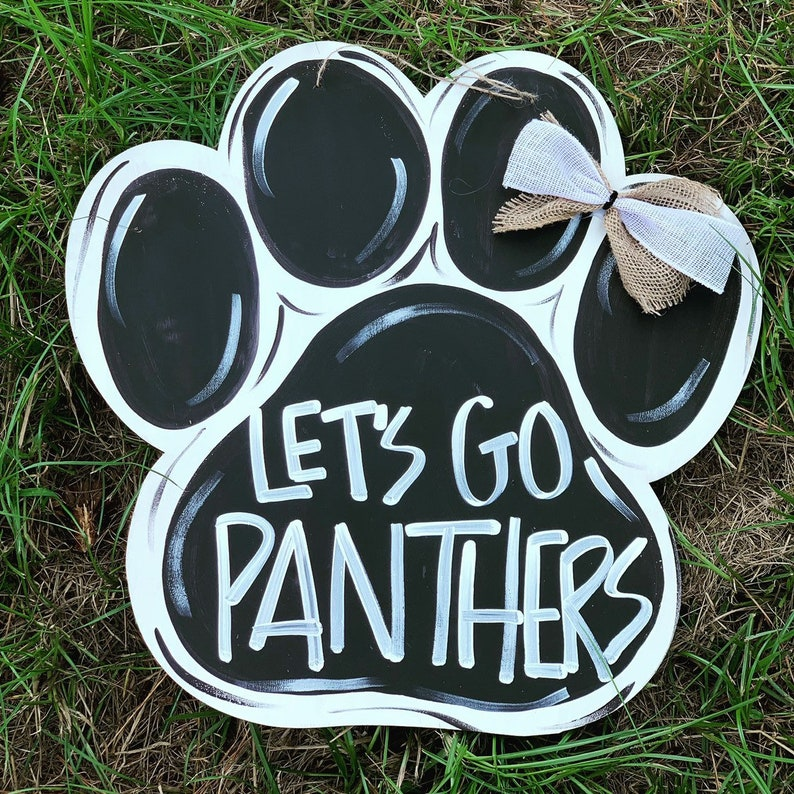 Custom Paw Door hanger 12  Lets go Panthers  fall wood image 0