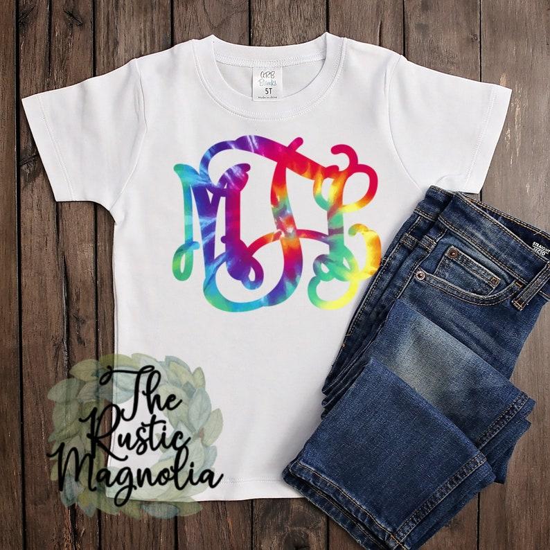 Youth shirt  vine monogram tie dye graphic tee  sublimation image 0
