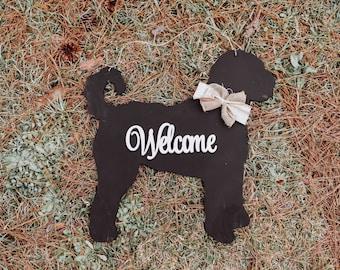 """20"""" wood doodle golden doodle labradoodle dog door hanger sign laser cut door hanger Welcome"""