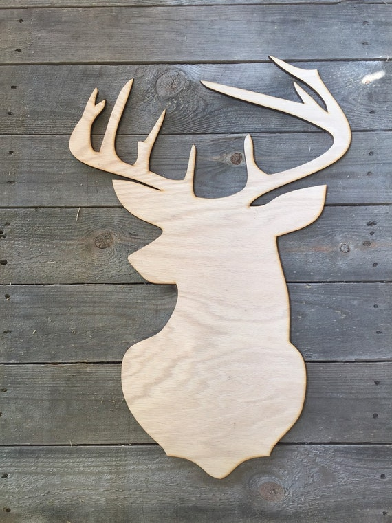 Blank Buck Head Door Hanger Cutout Deer Head Unfinished Etsy