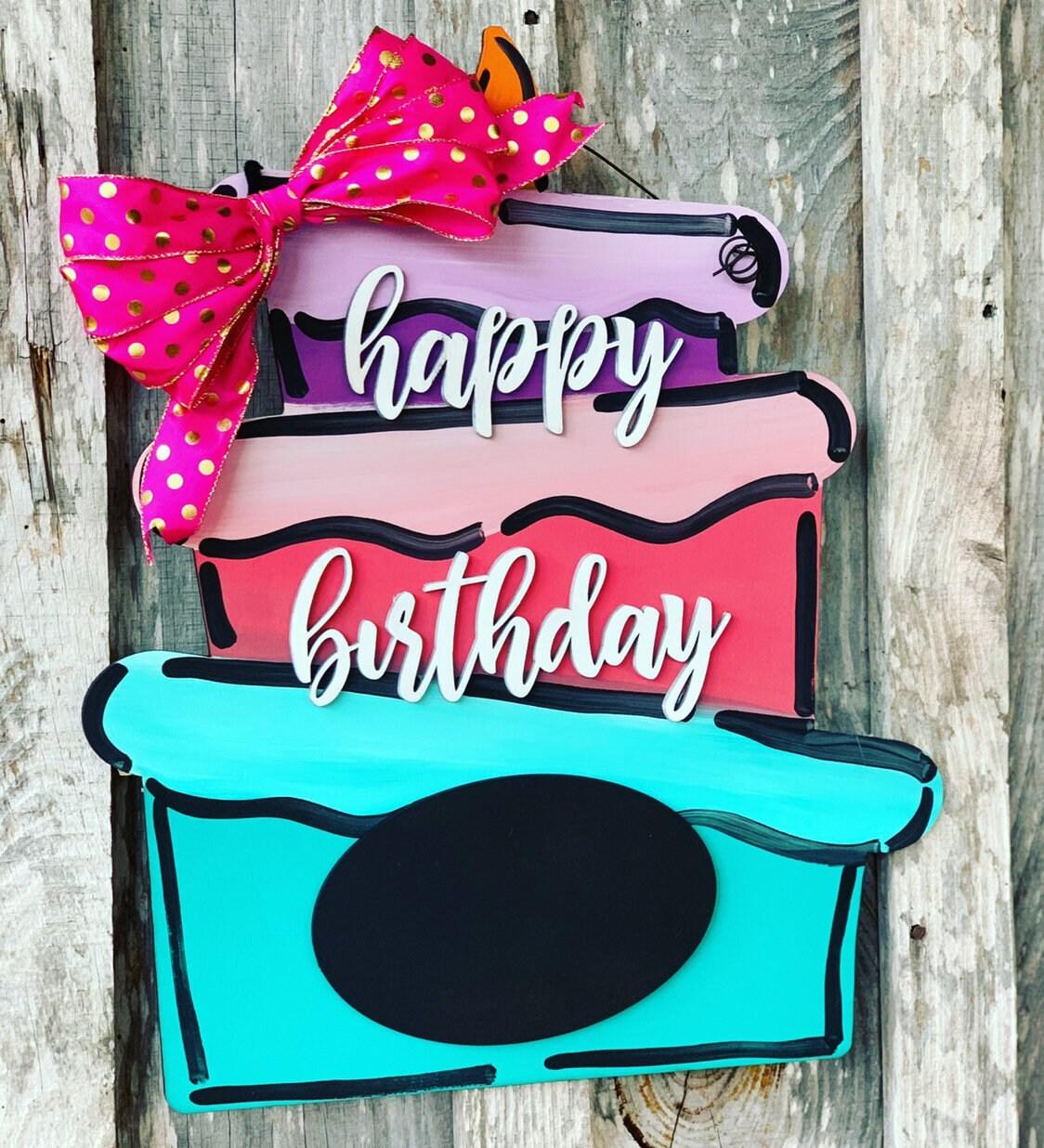 Birthday Cake Chalkboard Door Hanger