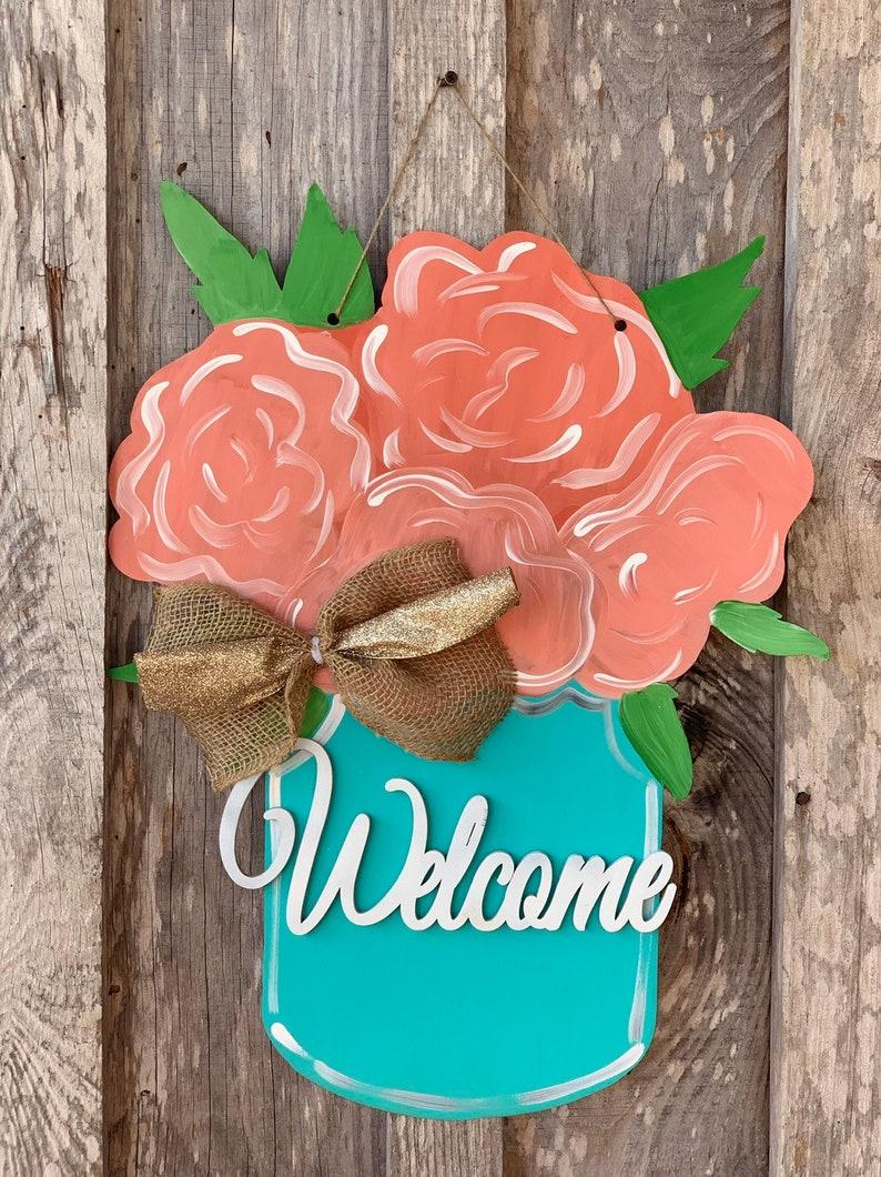 Floral jar welcome door hanger   22  spring door decor  image 0