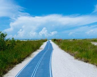 Beach Path Into Blue & White Cloud Sky