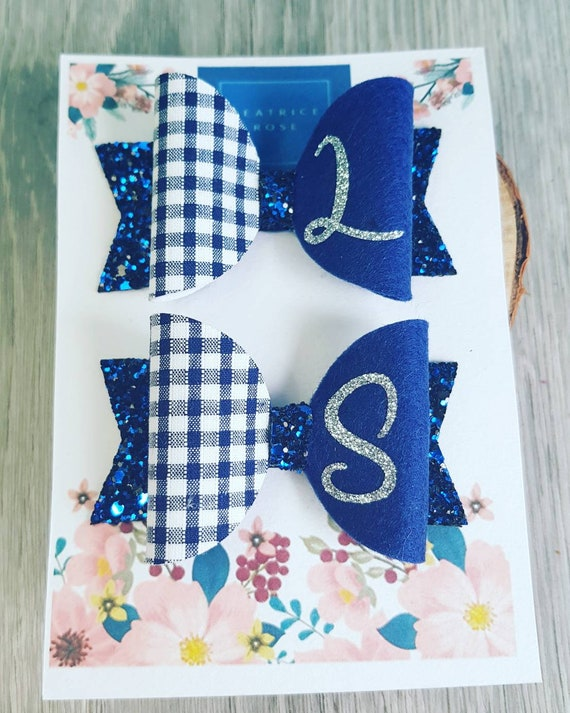 matching pair checked school bow clips free 1st class postage 2 Gingham