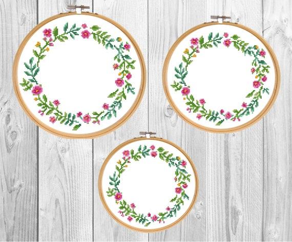 Floral Border Cross Stitch Pattern Pdf Round Flower Needlepoint