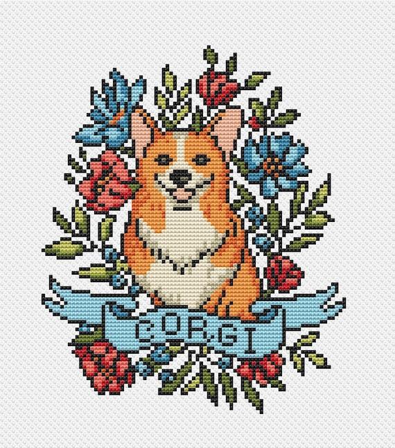 Corgi Modern Cross Stitch pattern Funny Cute Dog Love xstitch chart Easy Beginner  PDF Pattern download Dog Lovers Gift Corgi
