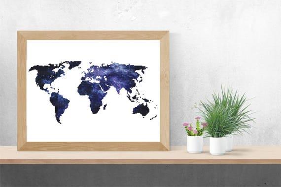 Cross stitch pattern world map pdf space globe needlepoint etsy image 0 gumiabroncs Images