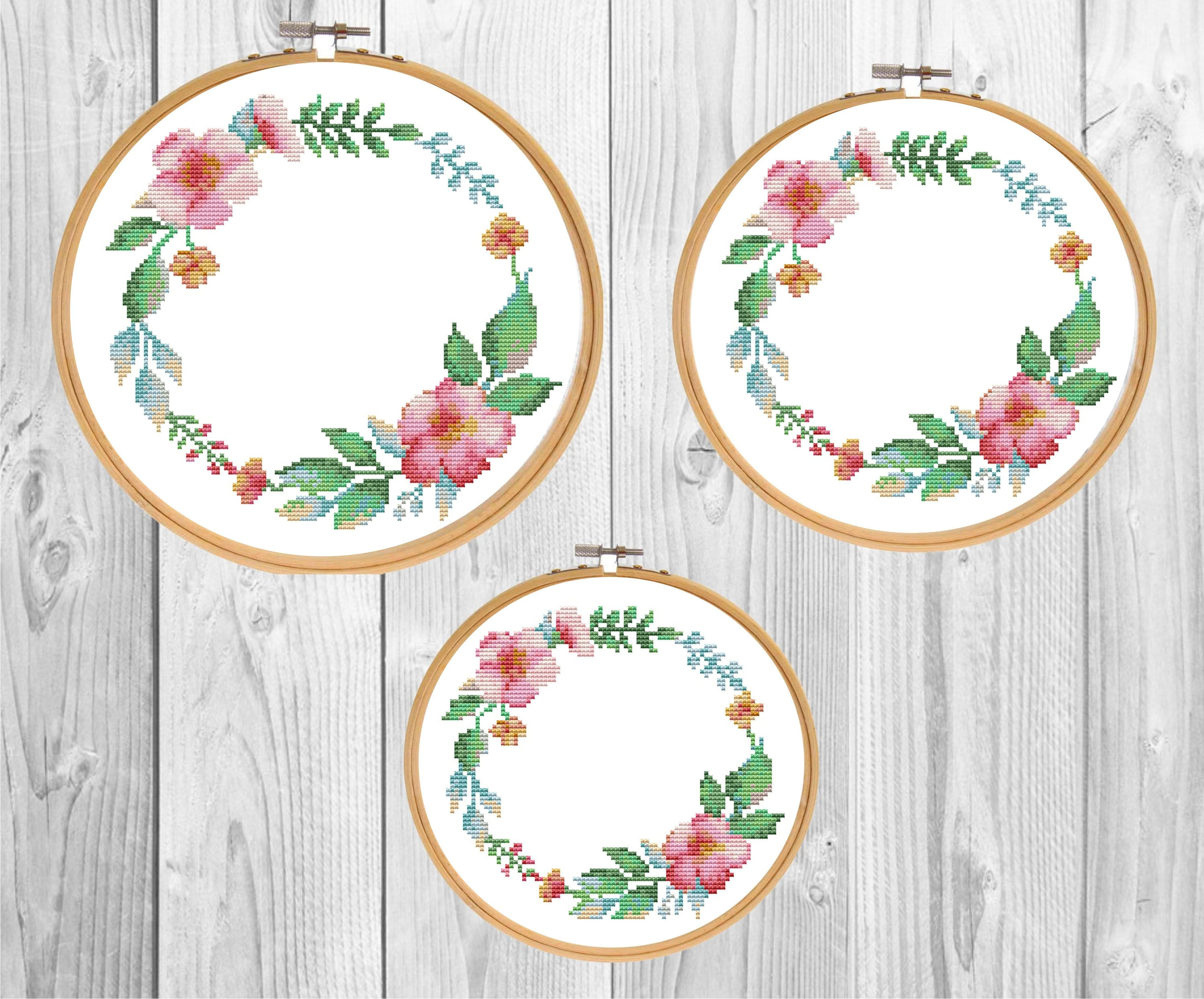 Pastel Watercolor Floral Border Square Frame Counted Cross Stitch Embroidery Pattern PDF Download