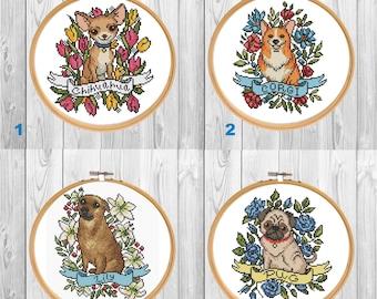 Custom Dog Portrait cross stitch pattern PDF/ Pet corgi xstitch/ pug counted needlepoint chart/ dog lover gift/ pet memorial cross stitch