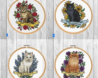 Custom Cat Portrait cross stitch pattern PDF/ Kitten embroidery/ Cat lover gift/ pet memorial/ cat xstitch/ modern cross stitch pattern
