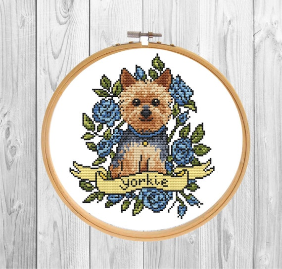 Yorkie Dog cross stitch pattern PDF/ yorkshire terrier xstitch/ needlepoint counted chart/ Puppy cross stitch/ cross stitch pattern dog