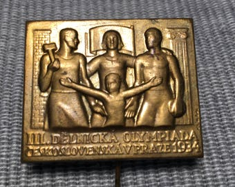 Badge Olympiad working in Prague - 1934 - Delnicka Olympiada KCS is