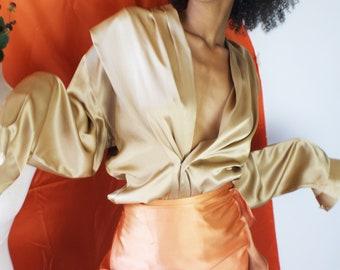 cbaf92736f07d Gold Taupe Vintage Silk Blouse