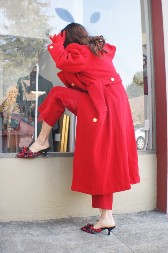 """1980's Vintage Red """"Military"""" Coat"""