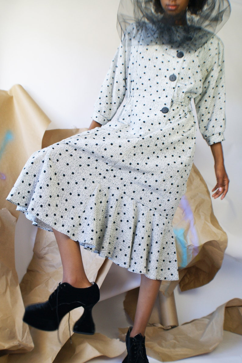 1980/'s Polka Dot Dress With Dropped Waist