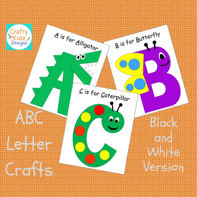 Abc Letter Crafts Black And White Version For Kids Etsy