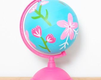 Painted Globe || Teacher Globe || Handpainted Globe