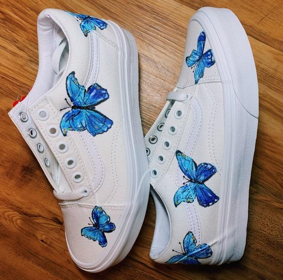 Painted butterfly old skool vans   Etsy