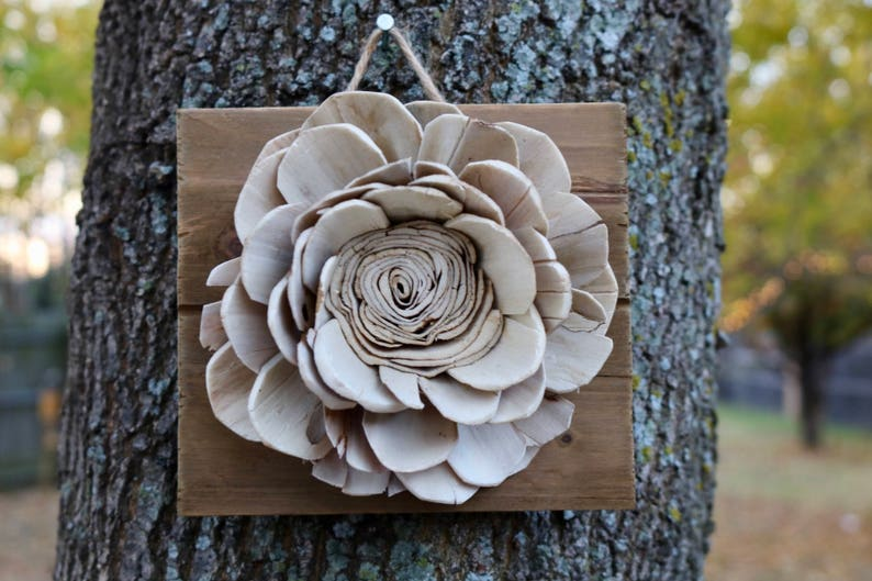 Wall Decor Flowers Lotus Sola Wood Flower Plaque Of Rustic Etsy