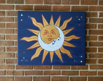 Celestial, Moon and Sun, Wooden Sign, Wall Art
