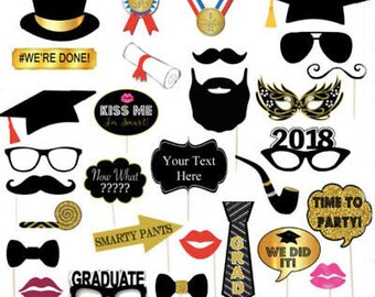 30 Count 2018 Graduation Grad Party Masks Photo Booth Props Mustache On Stick US
