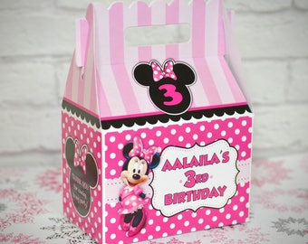 Minnie Mouse Pinky Dot Birthday Party, Personalized Gable Favor Boxes, pack of 8
