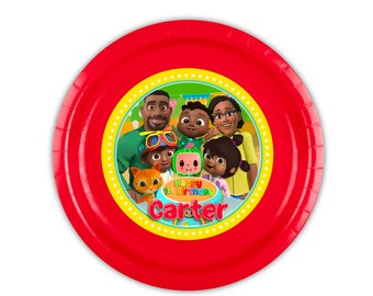 Cocomelon Party Cody's African American Family 12 Personalized Meal Plates