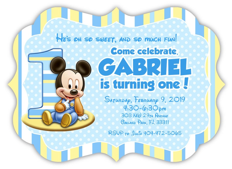 Baby Mickey Mouse First Birthday Invitation Die Cut Set Of 12