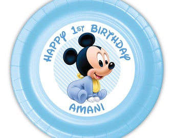 Mickey Mouse Baby First Birthday Party Personalized Meal Plates, pack of 12