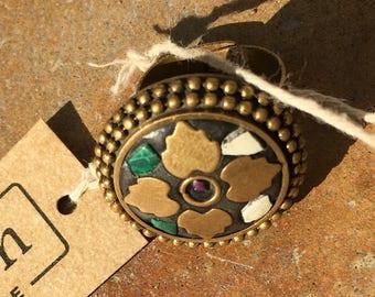 Irish Celtic Green and Gold Handmade multicolored ring