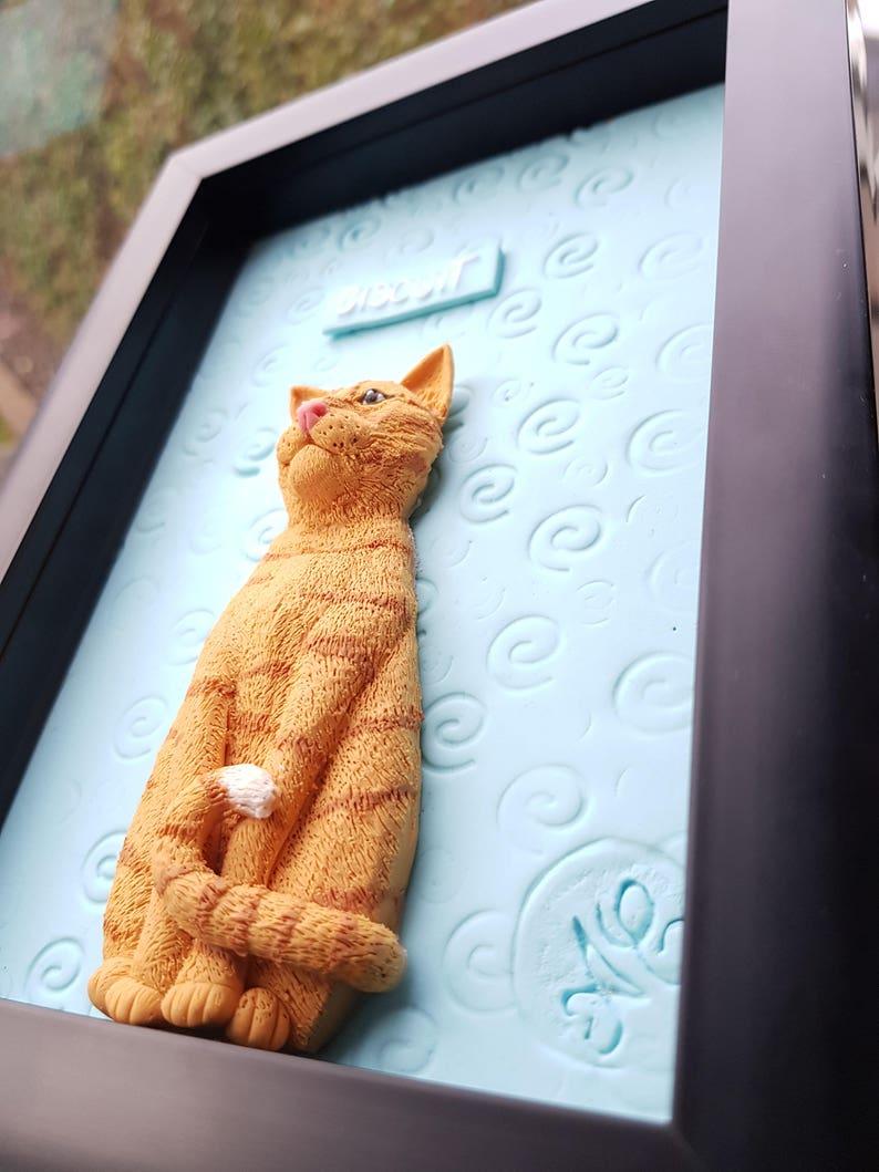 Custom cat portrait personalised pet memorial cat framed sculpture unique cat lover gift,