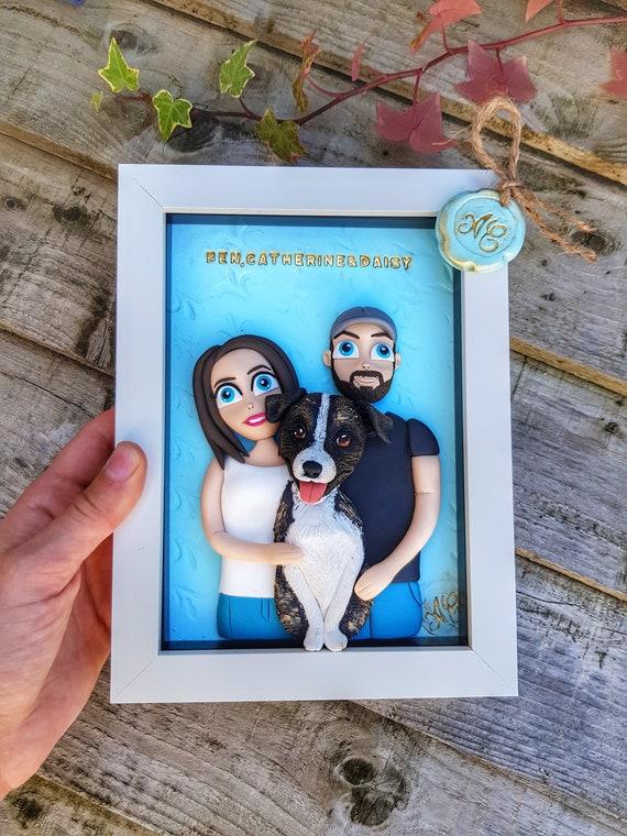 Pet portrait Personalises dog memorial Clay dog sculpture Greyhound dog illustration Gift for dog lovers