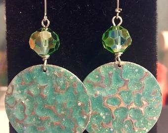 circular green turquoise earrings
